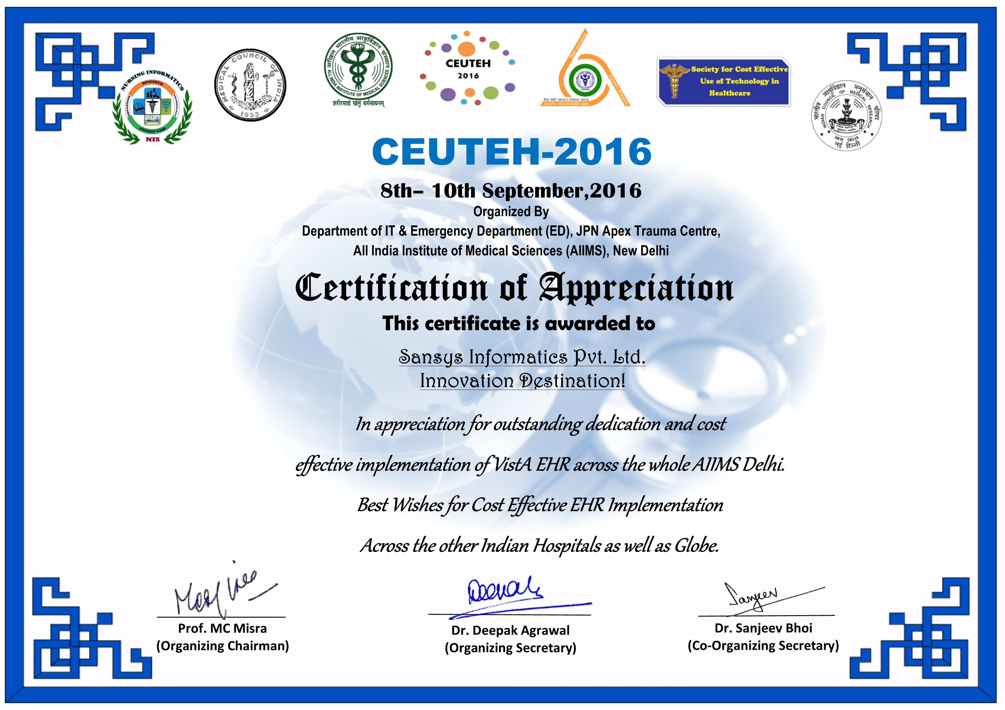 Sansys informatics certification of appreciation for cost effective implementation of vista ehr across the whole aiims delhi 1betcityfo Images